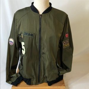 R21 Bomber jacket all live green with orange